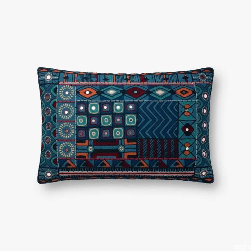 "Loloi x Justina Blakeney Collection P0774 Pillow 13"" x 21"" Cover with Down in Blue and Multi (DSETP0774BBMLPIL5)"