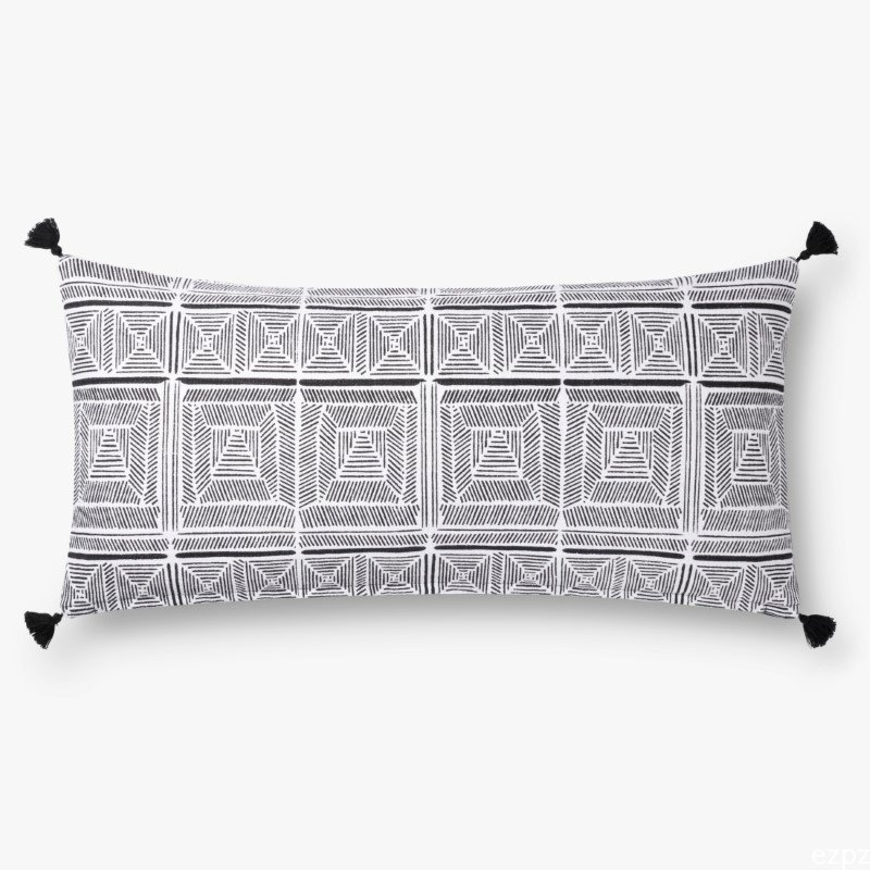 """Loloi x Justina Blakeney Collection P0775 Pillow 12"""" x 27"""" Cover with Poly in Black and White (PSETP0775BLWHPI13)"""