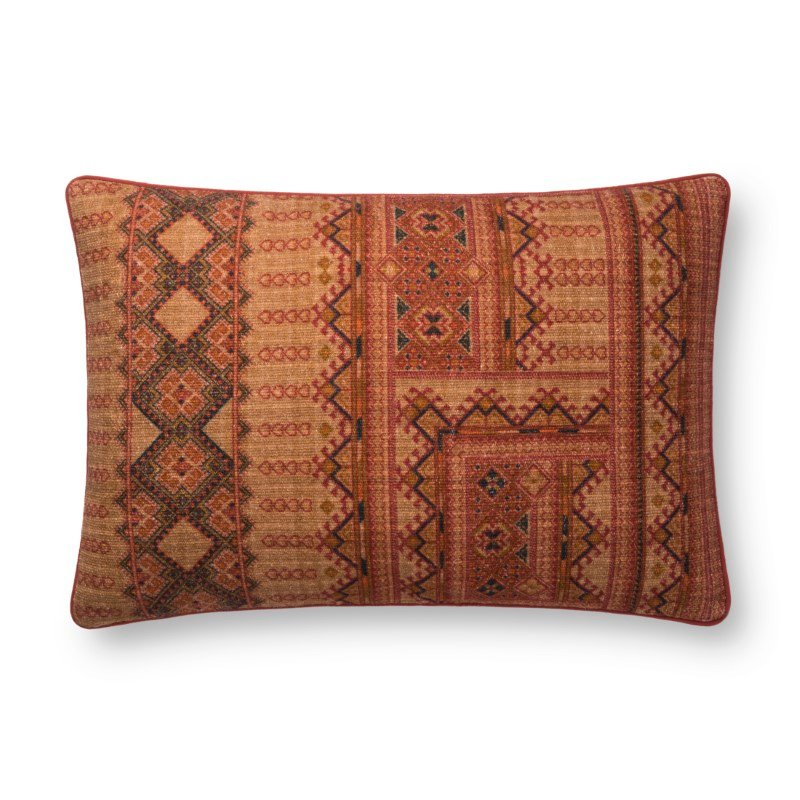 """Loloi x Justina Blakeney Collection P0778 Pillow 16"""" x 26"""" Cover with Poly in Rust (PSETP0778RU00PI15)"""