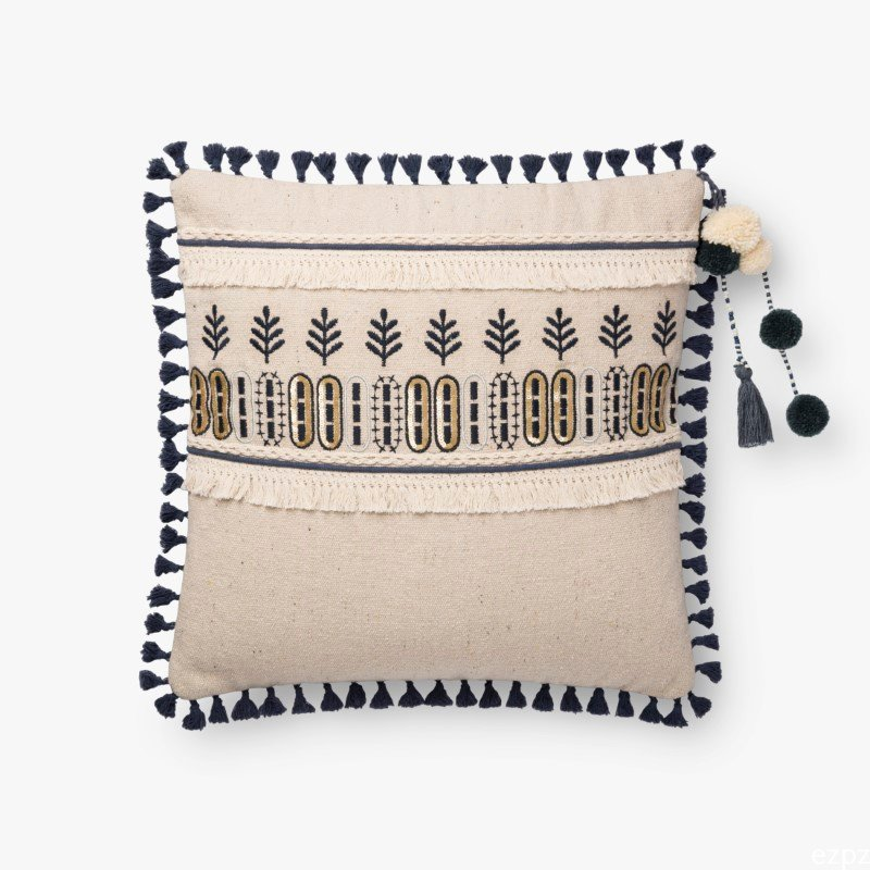 """Loloi x Justina Blakeney Collection P0779 Pillow 18"""" x 18"""" Cover with Poly in Natural and Blue (PSETP0779NABBPIL1)"""