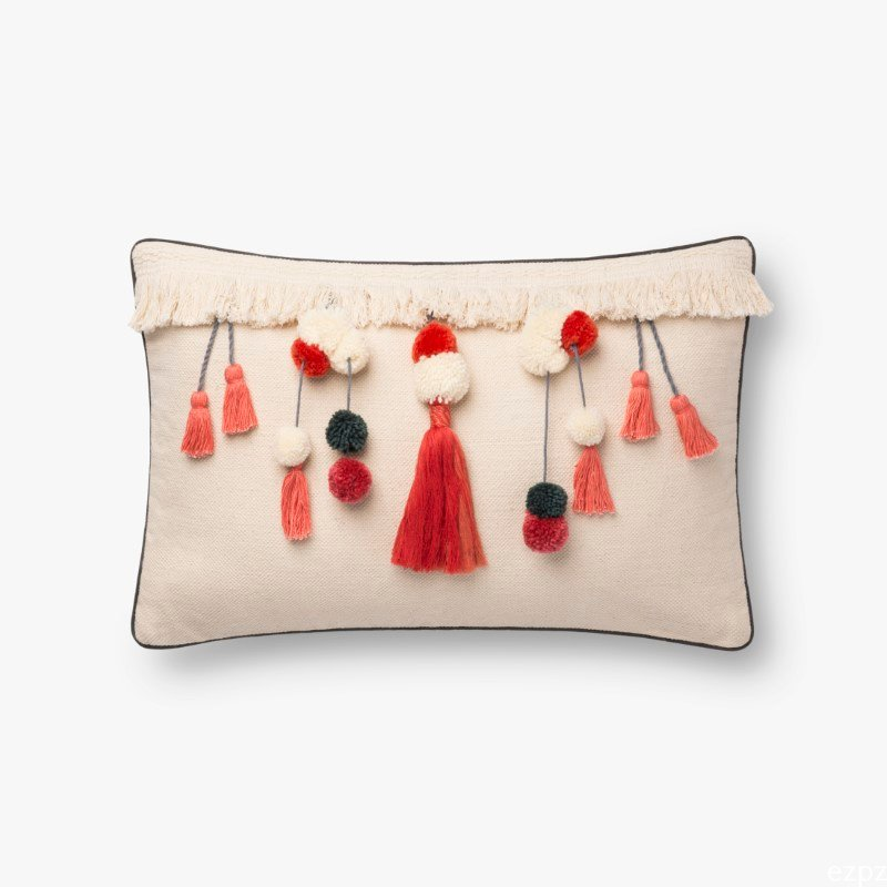 "Loloi x Justina Blakeney Collection P0780 Pillow 13"" x 21"" Cover with Down in Natural and Coral (DSETP0780NACOPIL5)"