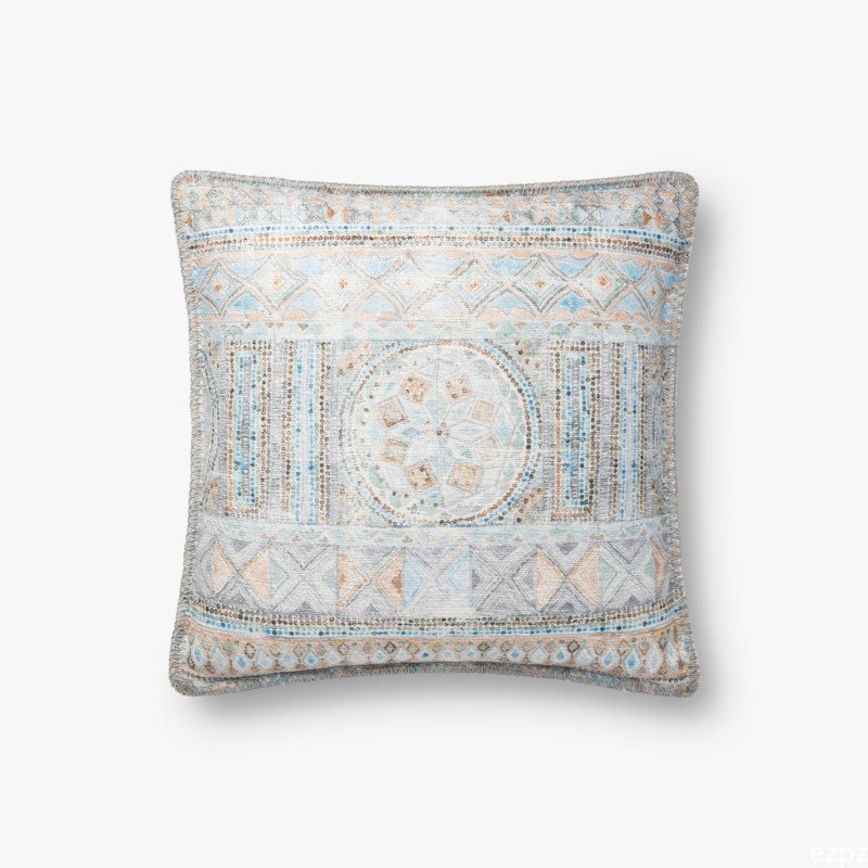 """Loloi x Justina Blakeney Collection P0782 Pillow 18"""" x 18"""" Cover Only in Blue and Multi (P202P0782BBMLPIL1)"""