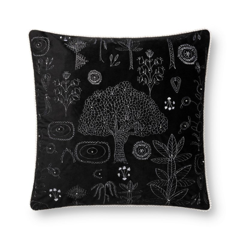 """Loloi x Justina Blakeney Collection P0783 Pillow 22"""" x 22"""" Cover Only in Black (P199P0783BL00PIL3)"""