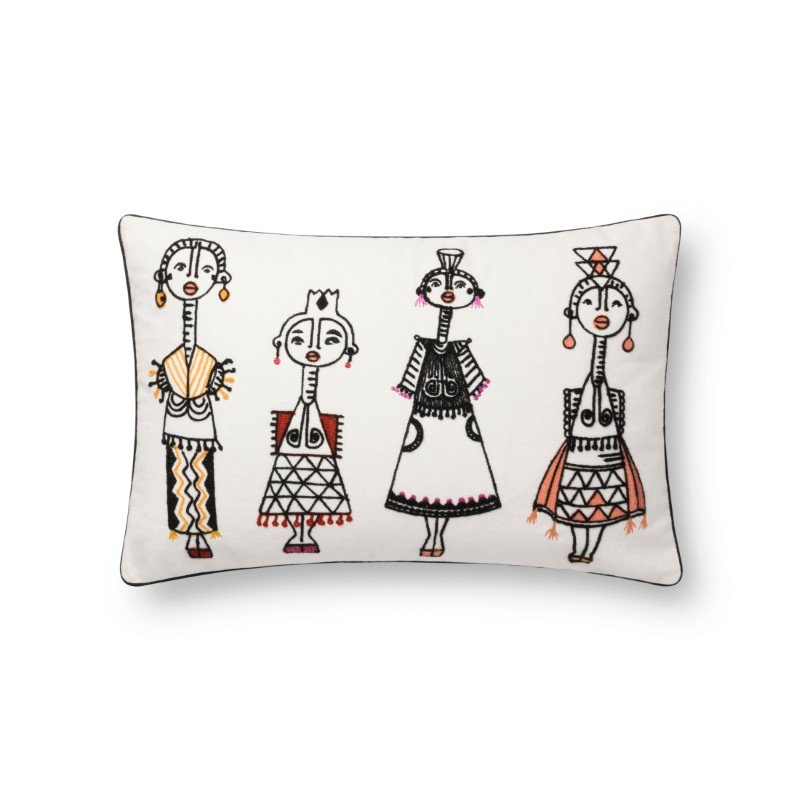 """Loloi x Justina Blakeney Collection P0784 Pillow 13"""" x 21"""" Cover with Down in White and Multi (DSETP0784WHMLPIL5)"""