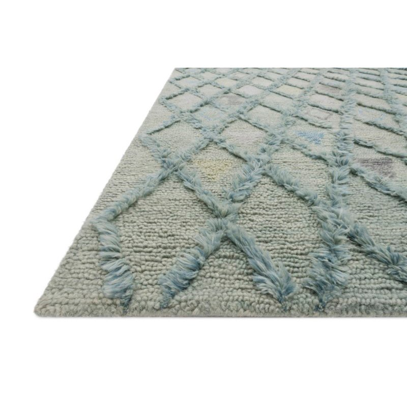 """Loloi x Justina Blakeney Collection SYM-02 Symbology Contemporary 1' 6"""" x 1' 6"""" Sample Swatch Square Rug in Seafoam and Sky (SYMBSYM-02SESC160S)"""