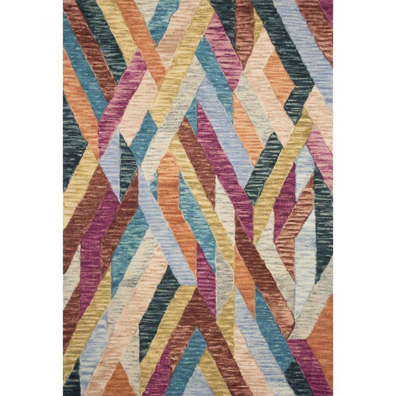 """Loloi x Justina Blakeney Hallu HAL-02 Contemporary Hooked 1' 6"""" x 1' 6"""" Sample Swatch Rug in Fiesta and Multi (HALUHAL-02FDML160S)"""