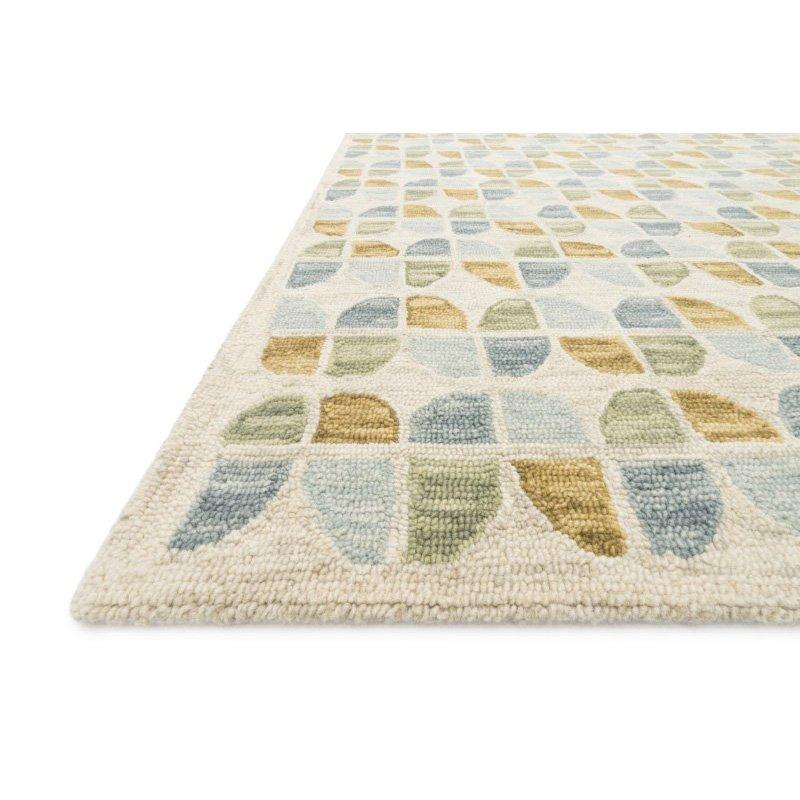 "Loloi x Justina Blakeney Hallu HAL-04 Contemporary Hooked 3' 6"" x 5' 6"" Rectangle Rug in Ivory and Sky (HALUHAL-04IVSC3656)"