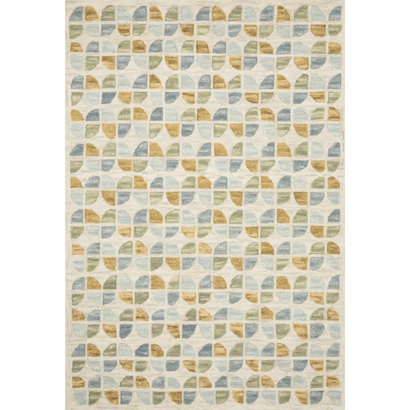 """Loloi x Justina Blakeney Hallu HAL-04 Contemporary Hooked 9' 3"""" x 13' Rectangle Rug in Ivory and Sky (HALUHAL-04IVSC93D0)"""