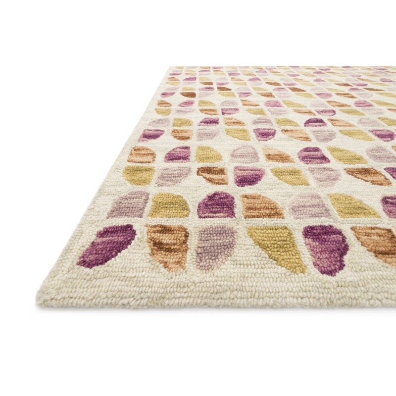 """Loloi x Justina Blakeney Hallu HAL-05 Contemporary Hooked 1' 6"""" x 1' 6"""" Sample Swatch Rug in Ivory and Sunset (HALUHAL-05IVSS160S)"""