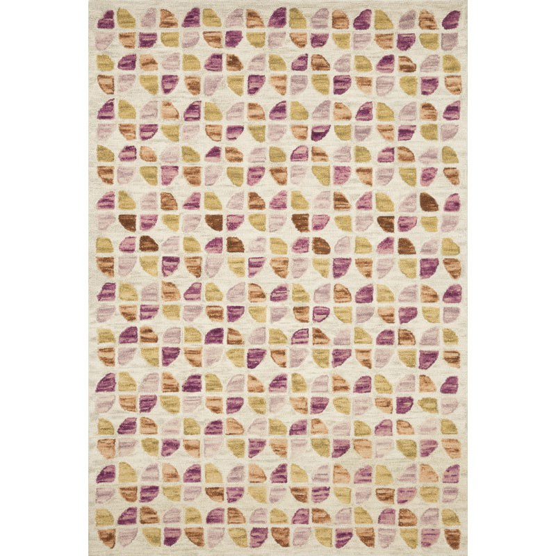"""Loloi x Justina Blakeney Hallu HAL-05 Contemporary Hooked 5' x 7' 6"""" Rectangle Rug in Ivory and Sunset (HALUHAL-05IVSS5076)"""