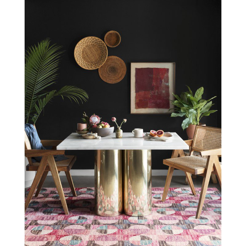 """Loloi x Justina Blakeney Hallu HAL-06 Contemporary Hooked 2' 6"""" x 7' 6"""" Runner Rug in Berry and Charcoal (HALUHAL-06BYCC2676)"""