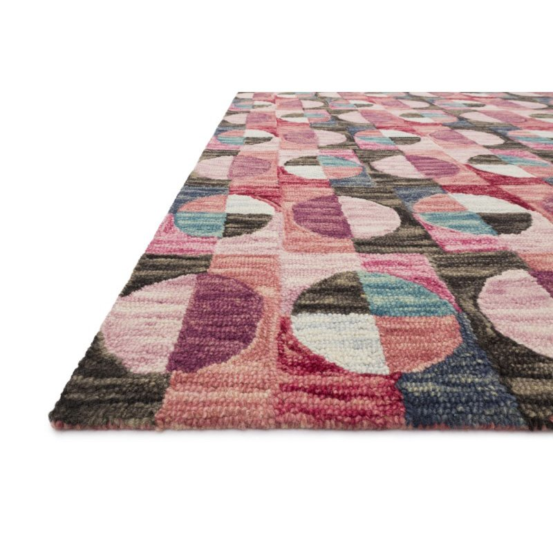 "Loloi x Justina Blakeney Hallu HAL-06 Contemporary Hooked 3' 6"" x 5' 6"" Rectangle Rug in Berry and Charcoal (HALUHAL-06BYCC3656)"