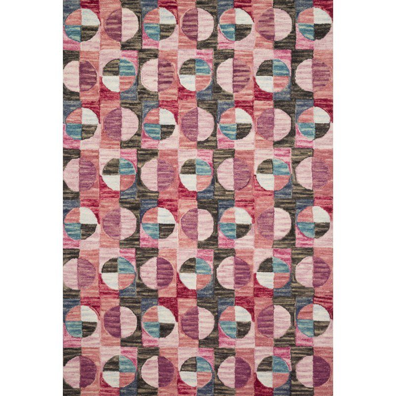 "Loloi x Justina Blakeney Hallu HAL-06 Contemporary Hooked 7' 9"" x 9' 9"" Rectangle Rug in Berry and Charcoal (HALUHAL-06BYCC7999)"
