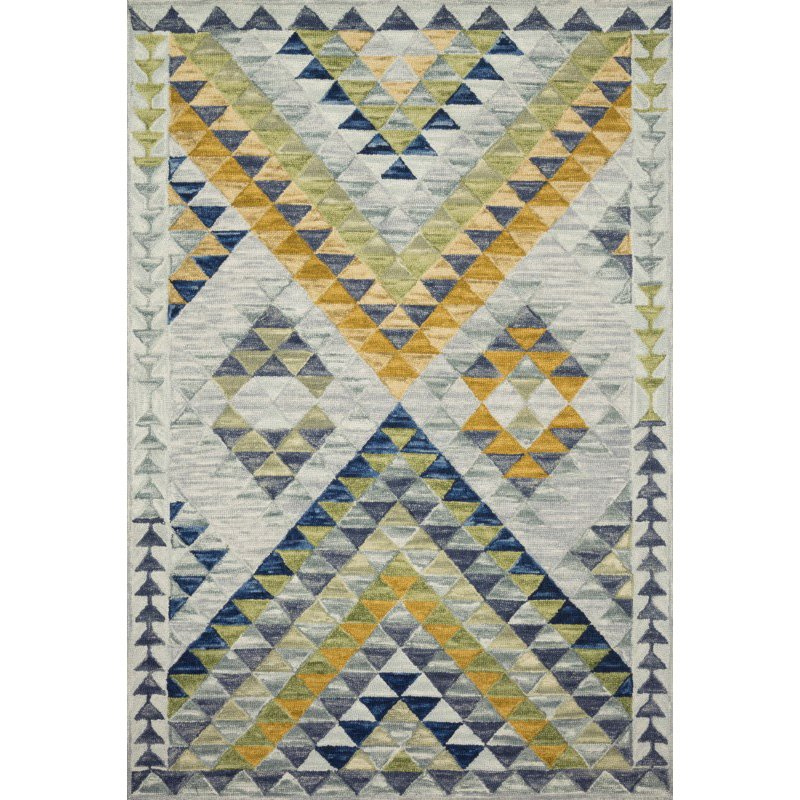 "Loloi x Justina Blakeney Hallu HAL-07 Contemporary Hooked 1' 6"" x 1' 6"" Sample Swatch Rug in Spa and Gold (HALUHAL-07SPAGO160S)"
