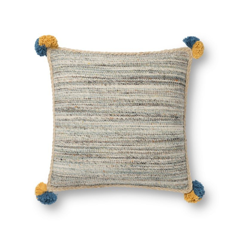 """Loloi x Justina Blakeney P0804 Pillow 18"""" x 18"""" Cover Only in Blue and Multi (P195P0804BBMLPIL1)"""
