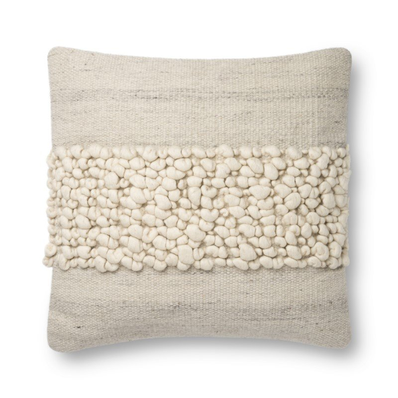 """Loloi x Justina Blakeney P0805 Pillow 22"""" x 22"""" Cover with Down in Ivory and Grey (DSETP0805IVGYPIL3)"""