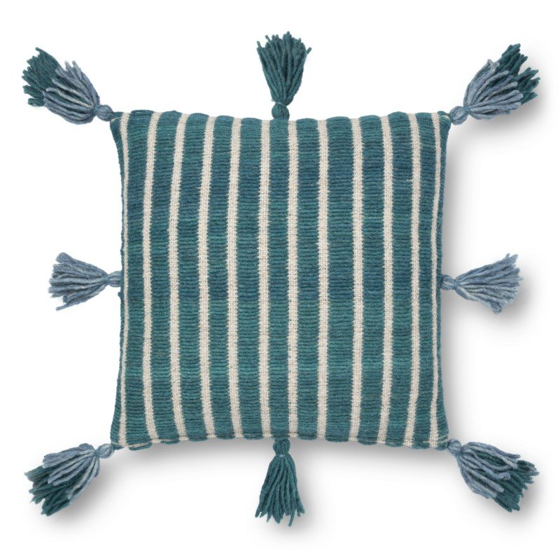 """Loloi x Justina Blakeney P0837 18"""" x 18"""" Square Pillow Cover with Poly in Blue and Teal (PSETP0837BBTEPIL1)"""