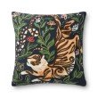 """Loloi x Justina Blakeney P0845 22"""" x 22"""" Square Pillow Cover Only in Black and Multi (P012P0845BLMLPIL3)"""