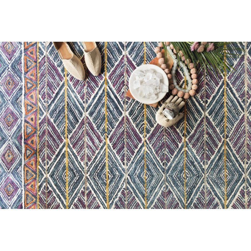 "Loloi x Justina Blakeney Priti PRT-01 Contemporary Hooked 2' 3"" x 3' 9"" Rectangle Rug in Teal and Fiesta (PRITPRT-01TEFD2339)"