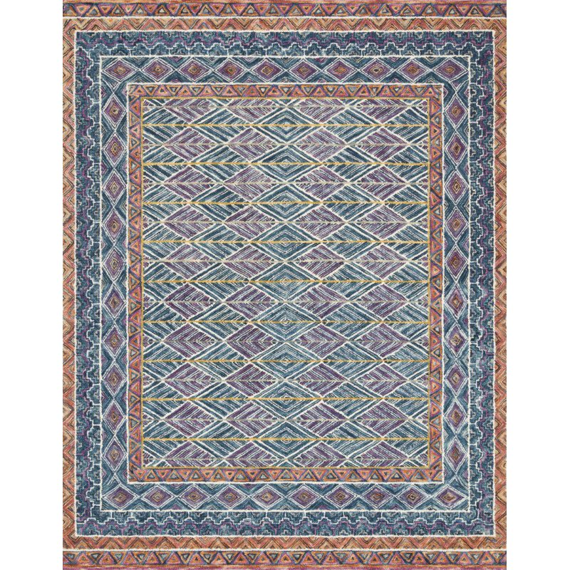 """Loloi x Justina Blakeney Priti PRT-01 Contemporary Hooked 3' 6"""" x 5' 6"""" Rectangle Rug in Teal and Fiesta (PRITPRT-01TEFD3656)"""