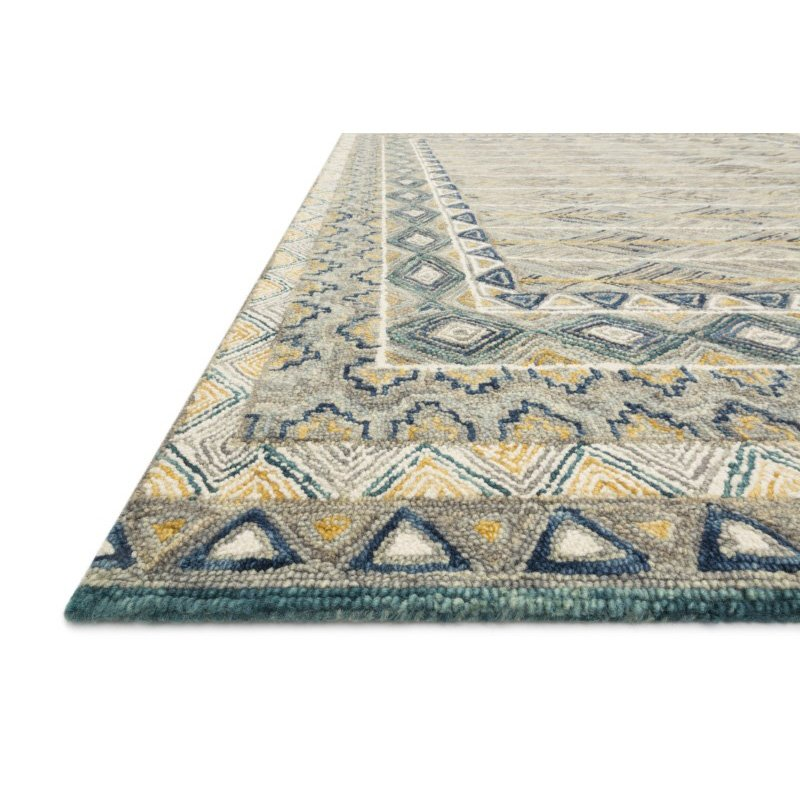 "Loloi x Justina Blakeney Priti PRT-02 Contemporary Hooked 3' 6"" x 5' 6"" Rectangle Rug in Grey and Lagoon (PRITPRT-02GYLJ3656)"