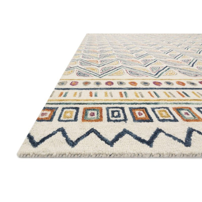 "Loloi x Justina Blakeney Priti PRT-03 Contemporary Hooked 1' 6"" x 1' 6"" Sample Swatch Rug in Ivory and Multi (PRITPRT-03IVML160S)"