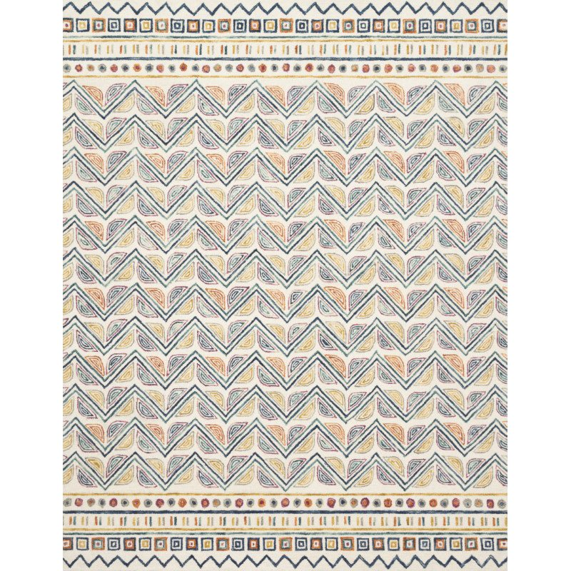 "Loloi x Justina Blakeney Priti PRT-03 Contemporary Hooked 7' 9"" x 9' 9"" Rectangle Rug in Ivory and Multi (PRITPRT-03IVML7999)"