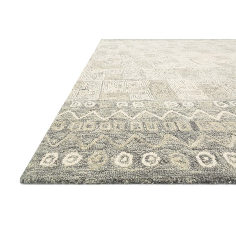 "Loloi x Justina Blakeney Priti PRT-04 Contemporary Hooked 1' 6"" x 1' 6"" Sample Swatch Rug in Pewter and Natural (PRITPRT-04PWNA160S)"