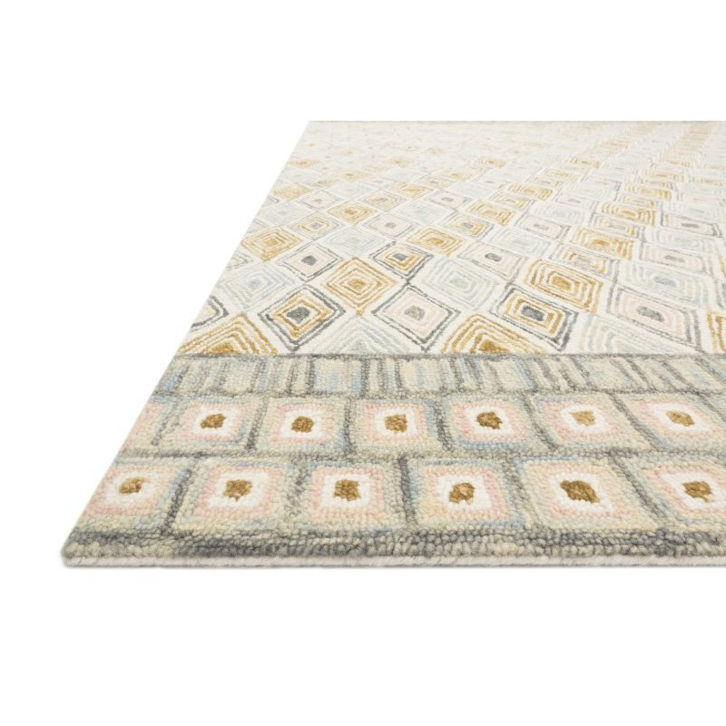 "Loloi x Justina Blakeney Priti PRT-05 Contemporary Hooked 1' 6"" x 1' 6"" Sample Swatch Rug in Mist and Gold (PRITPRT-05MIGO160S)"