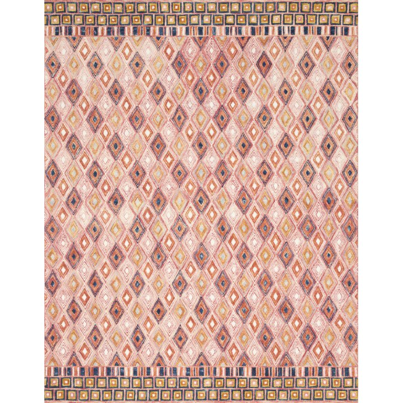 "Loloi x Justina Blakeney Priti PRT-06 Contemporary Hooked 1' 6"" x 1' 6"" Sample Swatch Rug in Pink and Sunset (PRITPRT-06PISS160S)"