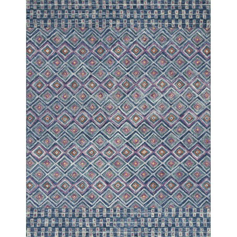 "Loloi x Justina Blakeney Priti PRT-07 Contemporary Hooked 3' 6"" x 5' 6"" Rectangle Rug in Denim and Berry (PRITPRT-07DEBY3656)"