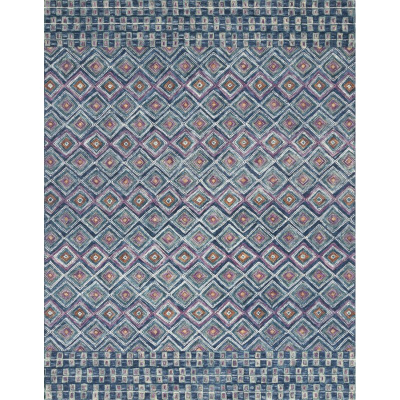"""Loloi x Justina Blakeney Priti PRT-07 Contemporary Hooked 9' 3"""" x 13' Rectangle Rug in Denim and Berry (PRITPRT-07DEBY93D0)"""