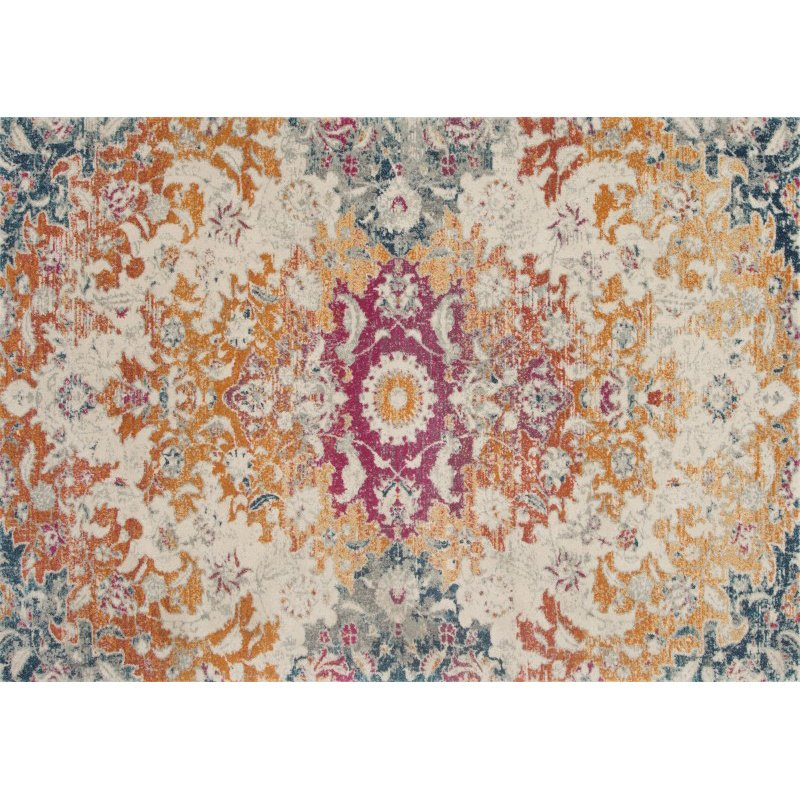 """Loloi Zehla ZL-02 Transitional Rectangle Rug 7' 5"""" x 10' 5"""" in Ivory and Fiesta (ZEHLZL-02IVFD75A5)"""