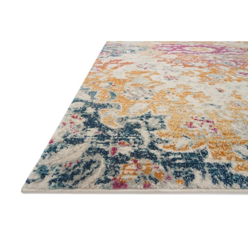 """Loloi Zehla ZL-02 Transitional Runner Rug 2' 7"""" x 10' in Ivory and Fiesta (ZEHLZL-02IVFD27A0)"""