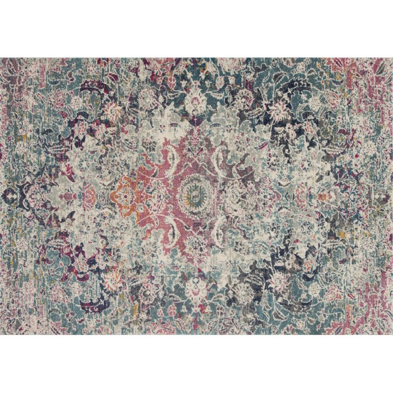 """Loloi Zehla ZL-02 Transitional Runner Rug 2' 7"""" x 7' 7"""" in Mist and Multi (ZEHLZL-02MIML2777)"""