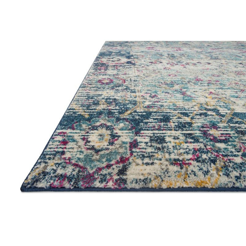 """Loloi Zehla ZL-03 Transitional Runner Rug 2' 7"""" x 10' in Teal and Indigo (ZEHLZL-03TEIN27A0)"""