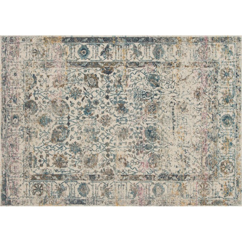"""Loloi Zehla ZL-04 Transitional Rectangle Rug 3' 11"""" x 5' 7"""" in Ivory and Blue (ZEHLZL-04IVBB3B57)"""