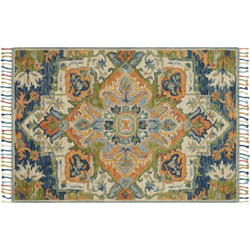 "Loloi Zharah ZR-11 7' 9"" x 9' 9"" Rectangle Rug in Blue and Multi (ZHARZR-11BBML7999)"