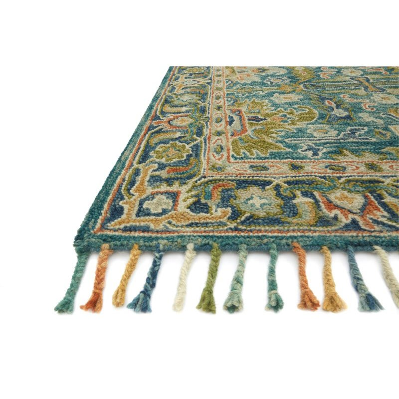 """Loloi Zharah ZR-12 1' 6"""" x 1' 6"""" Square Rug in Blue and Navy (ZHARZR-12BBNV160S)"""