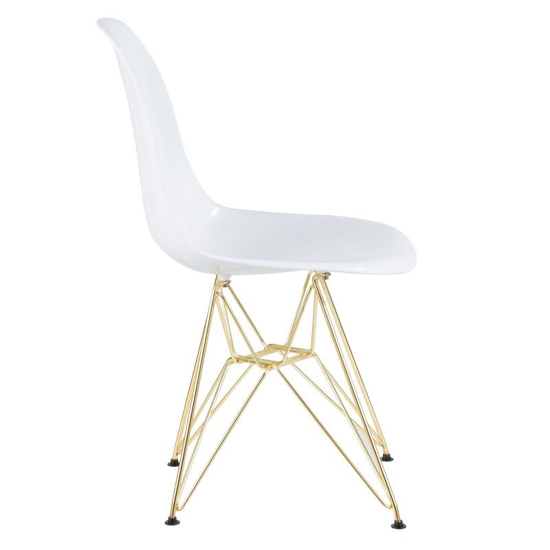 Lumisource Brady Mid-Century Modern Dining/Accent Chair in Gold and White -Set of 2 (CH-BRDABS WAU2)