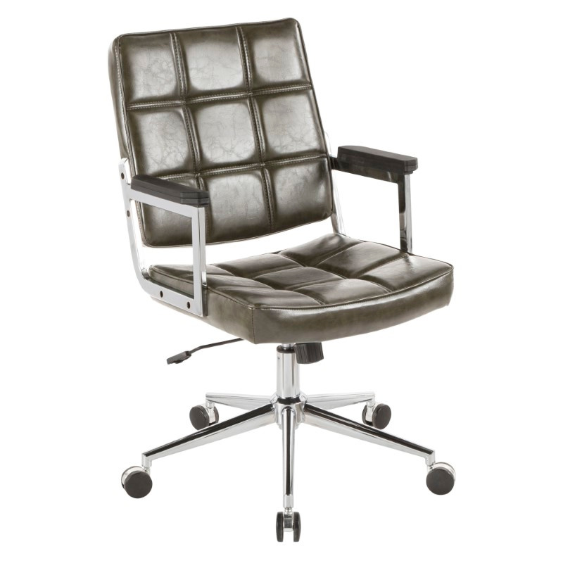 Lumisource Bureau Contemporary Office Chair with Chrome Metal and Green Faux Leather (OC-BUREAU GN)