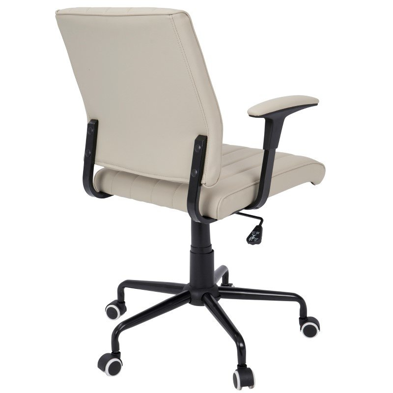 Lumisource Cache Contemporary Office Chair in Beige with Black Metal (OFC-CACH BK+LGY)