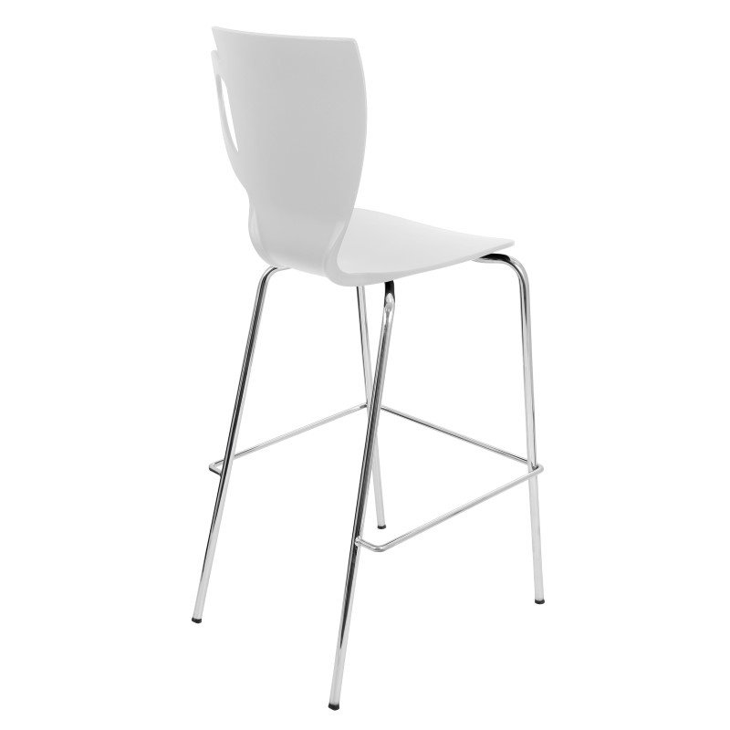 Lumisource Cafe Chai 3 Pieces Stackable Barstool in White