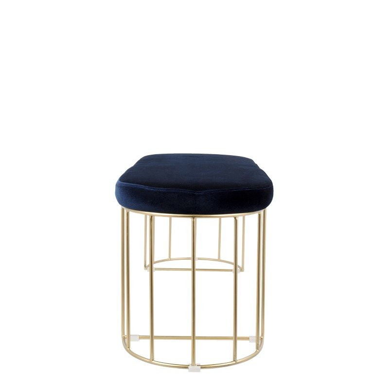 Lumisource Canary Contemporary Dining/Entryway Bench in Gold and Blue Velvet (BC-CNRY AU+BU)