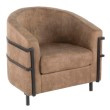 Lumisource Colby Industrial Tub Chair in Black with Brown Cowboy Fabric (CH-CLBY BK+BN)
