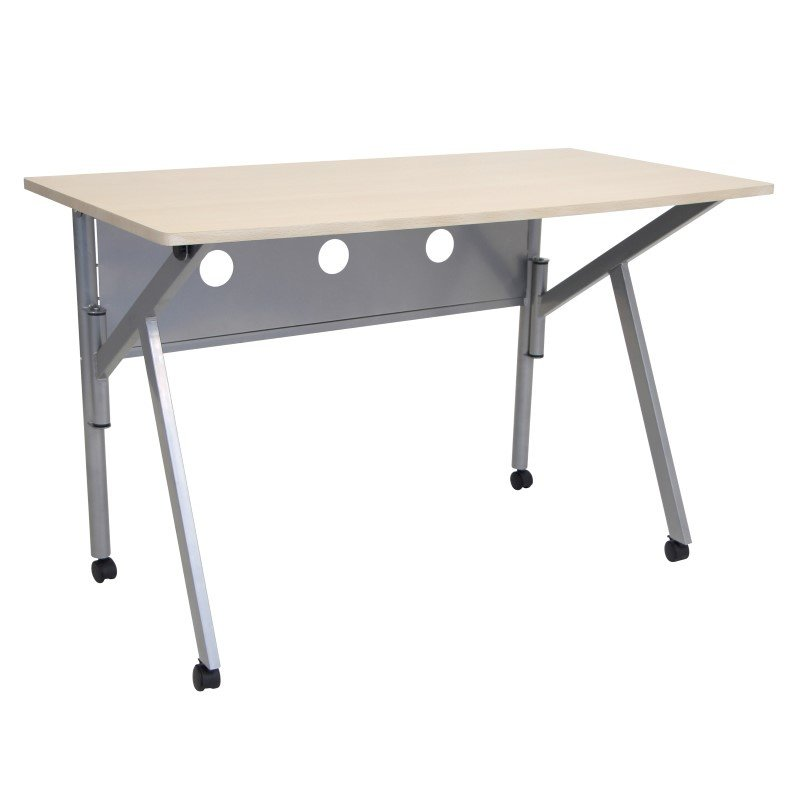 Lumisource Conference Folding Desk in Natural and Silver