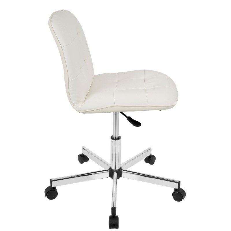 Lumisource Cora Contemporary Task Chair in White Faux Leather (OC-CORA W)