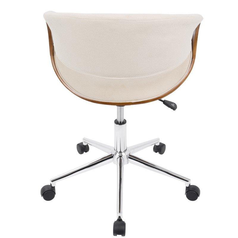 Lumisource Curvo Mid-Century Modern Office Chair in Walnut and Cream (OFC-CURVO WL+CR)