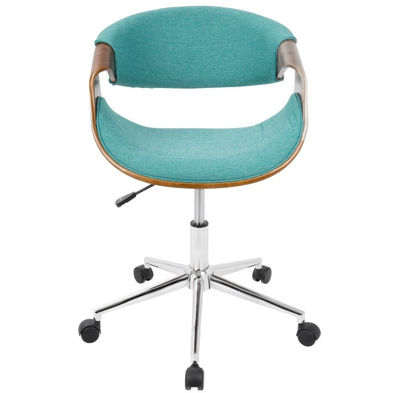 Lumisource Curvo Mid-Century Modern Office Chair in Walnut and Teal (OFC-CURVO WL+TL)