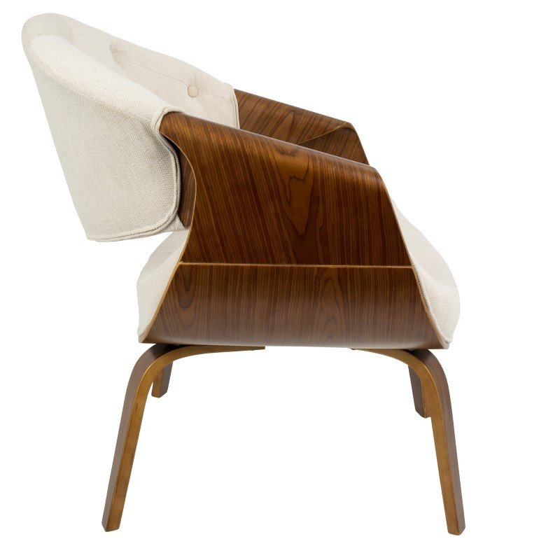 Lumisource Curvo Mid-Century Modern Tufted Accent Chair in Walnut and Cream Fabric (CH-CRVTFT WL+CR)